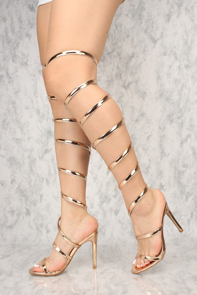 d0db85756d Rock these knee high coil heels to your next brunch date! The features  includes a bold color with a nubuck fabric, open toe, single sole design,  ...