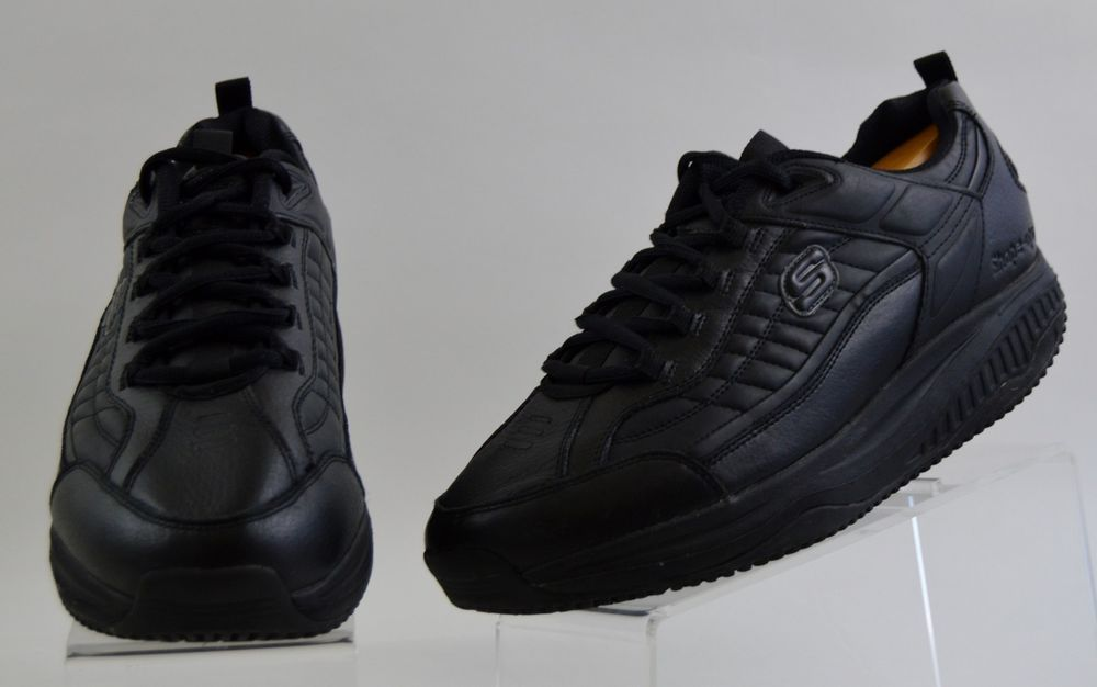 83a0dfea9ff150 Skechers Shape Ups Work Men s 13 Black Leather Slip Resistant Shoes Used   skechers  WorkSafety