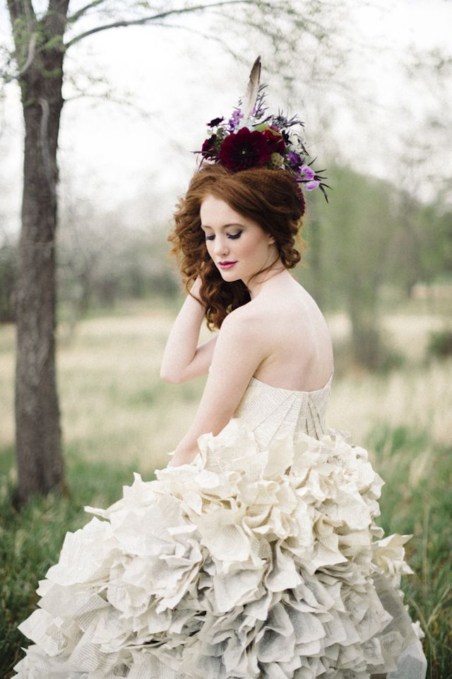 Diy Wedding Dress Made From Book Pages Bellamint Photography And Sunflower Creative See More