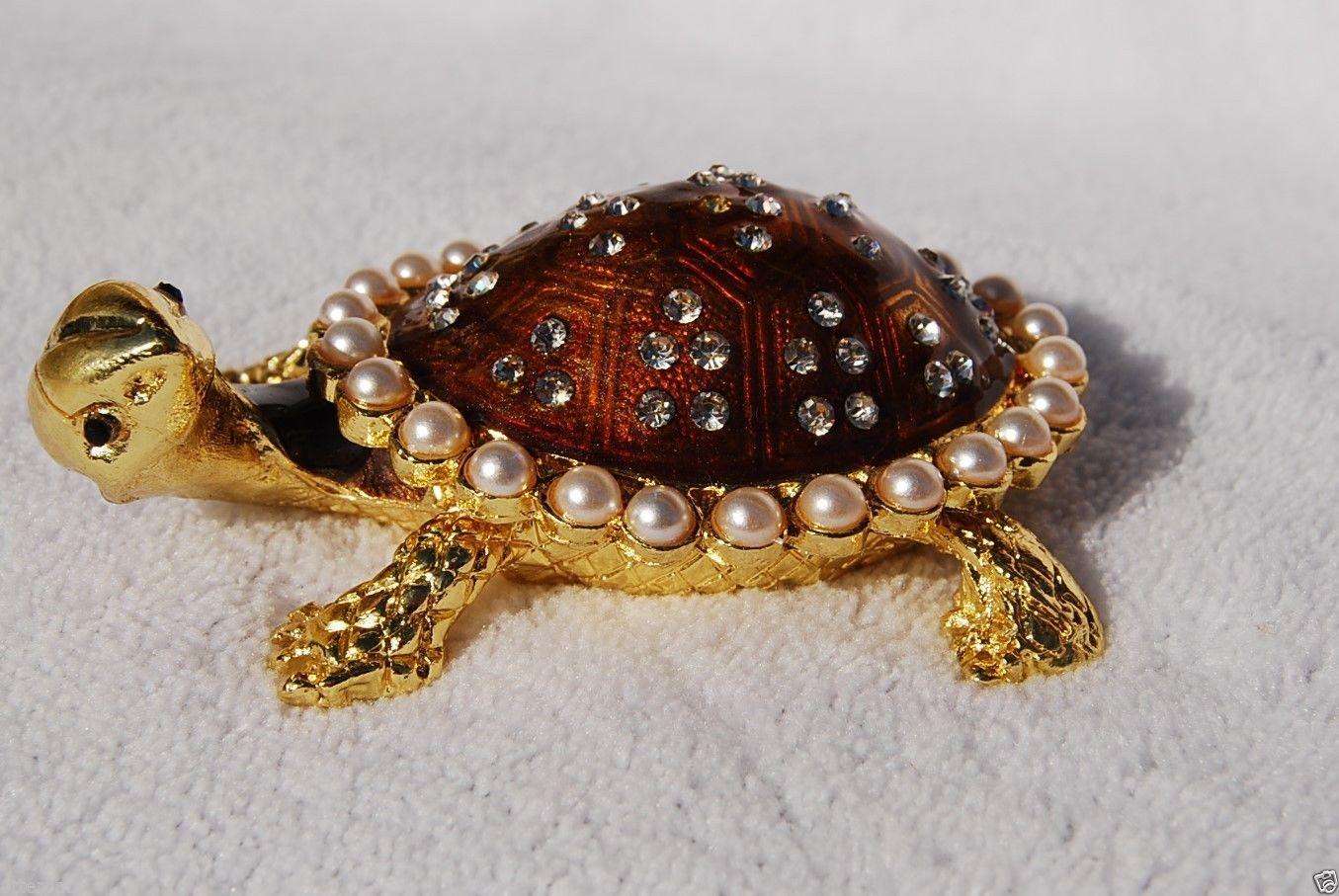 Swarovski Crystal Bejeweled Enameled Hinged Trinket Box Pearl Tortoise | eBay