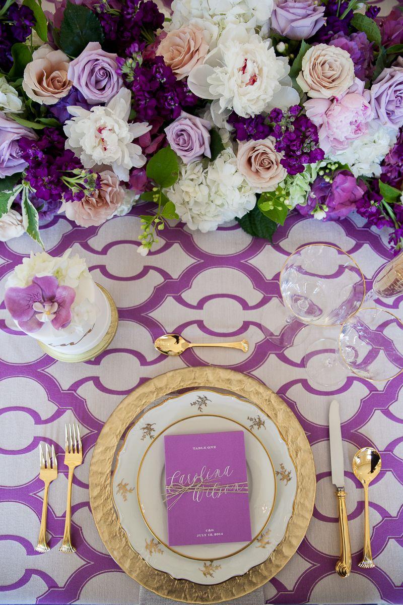 Purple Peach And Gold Tablescape So Pretty Purple Gold