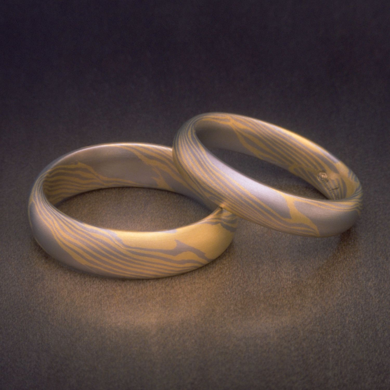 SImple and clean 18K Yellow & White Gold Women s Mokume Rings and