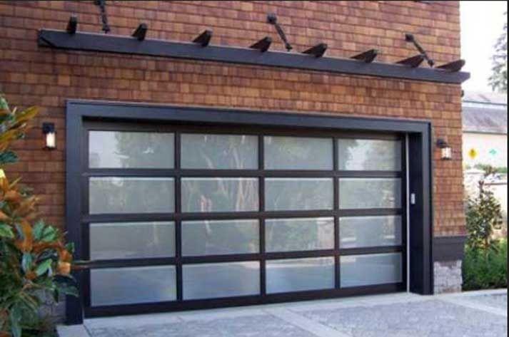 Brick Home Exterior Decoration Ideas With Designing Black Pergola Overhead Glass Garage Doors For Hous Modern Garage Doors Garage Door Design Glass Garage Door