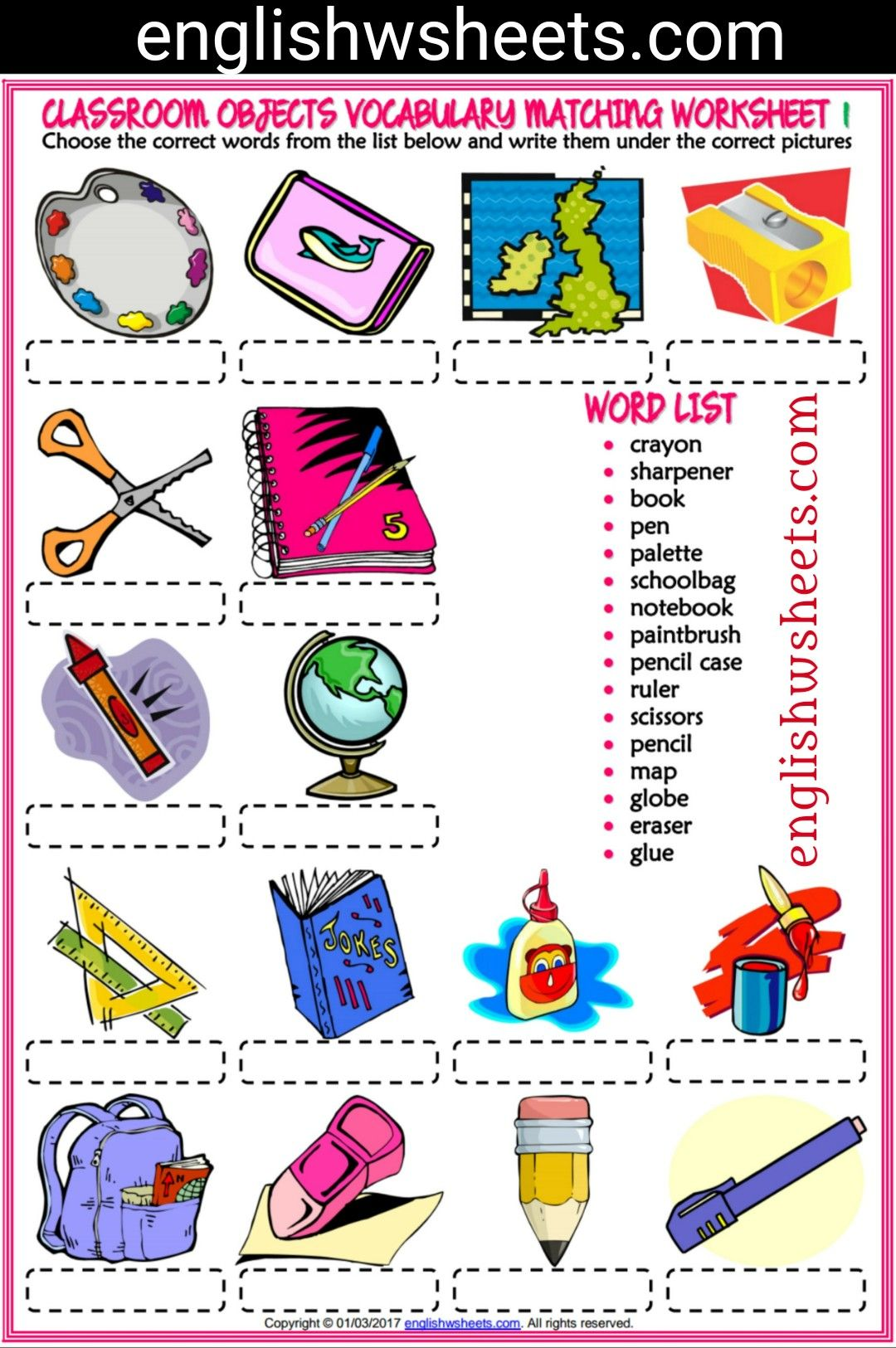 Classroom Objects Esl Printable Matching Exercise