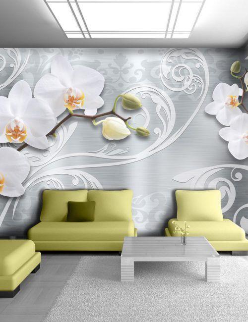 Carta da parati orchidea bianca con decorazioni carta da for Carta da parati 3d fiori