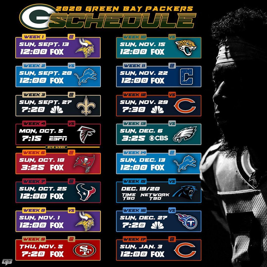 Green Bay Today On Instagram Here Is Your Green Bay Packers Schedule For The 2020 21 Season Thoughts In 2020 Packers Schedule Green Bay Packers Green Bay