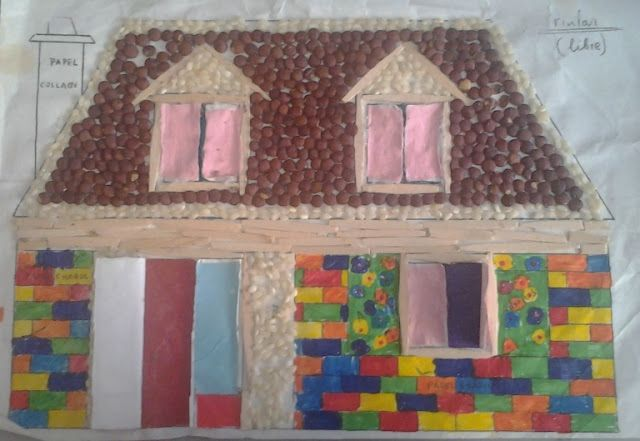 Manualidades con mis hijas. Casita de lentejas, arroz, palillos... kids craft lentils rice, house