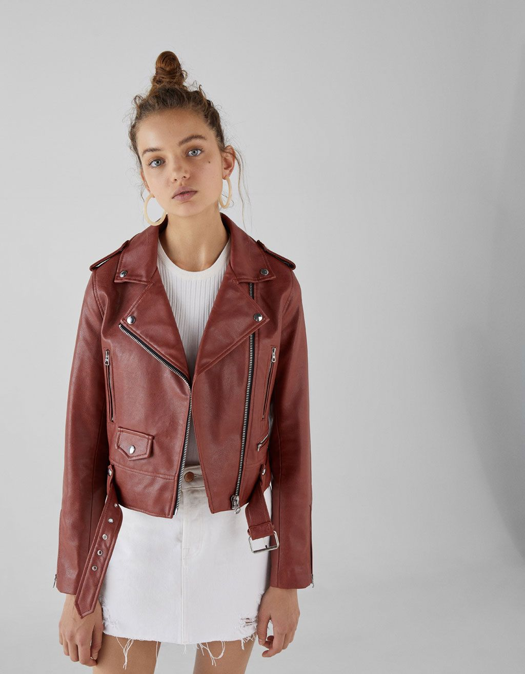 Faux leather biker jacket (With images) Leather jacket