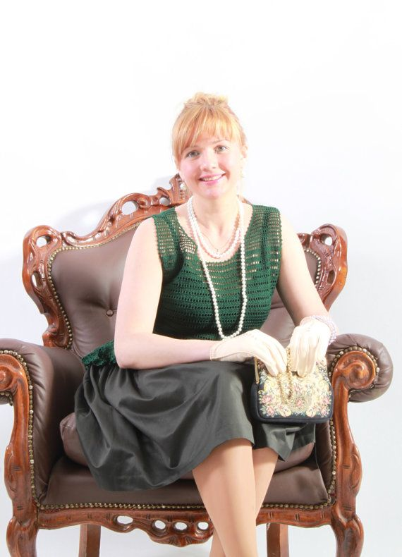 Modest woman crochet blouse scoop neckline by JSOTsHumanHeritage