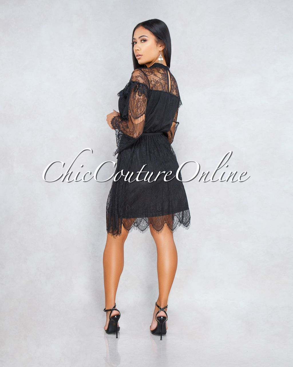 2b3801df7a2976 Chic Couture Online - Bronx Black Lace Overlay Long Sleeves Midi Dress