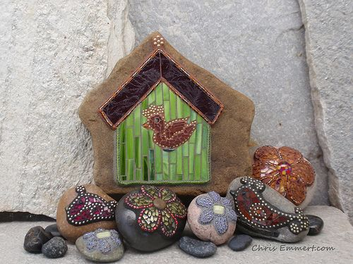Mosaic Flowers and Birds Garden Stones