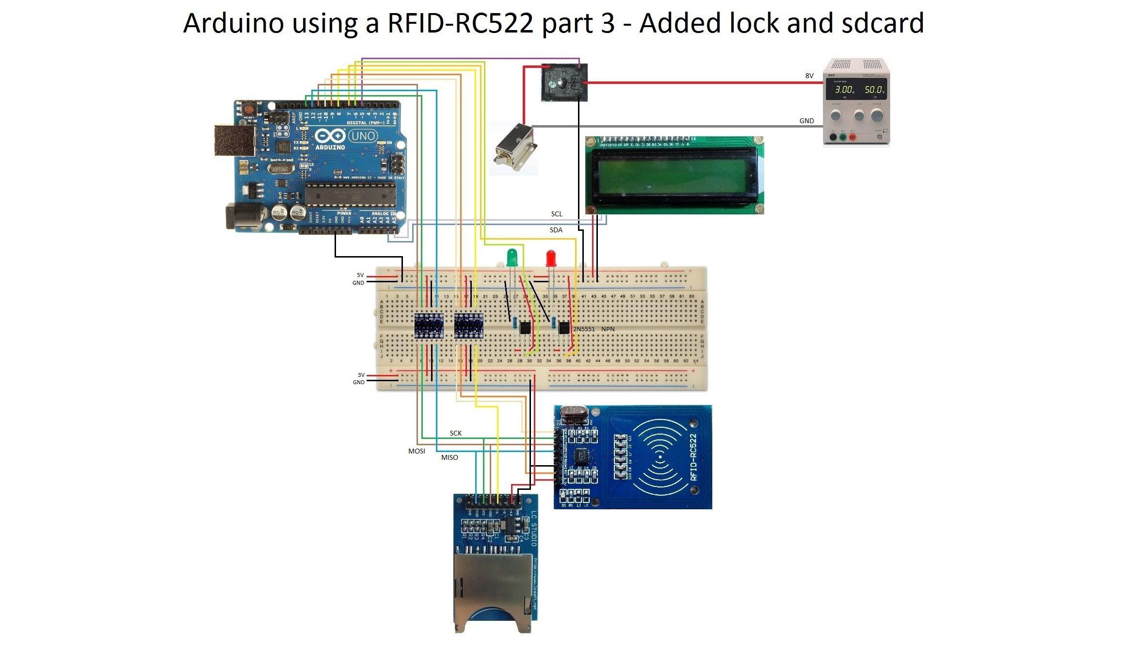 Arduino Using A Rfid Rc522 Part 3 Added Lock And Sdcard Arduino Rfid Lock