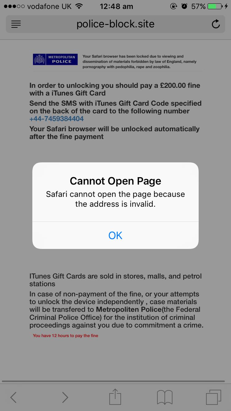 Safari Blocked by Metropolitan Police Virus £200 fine - How to