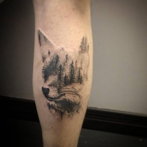 Animal Tattoo Designs Landscape Fox Tattoo By Cynthia Pelletier