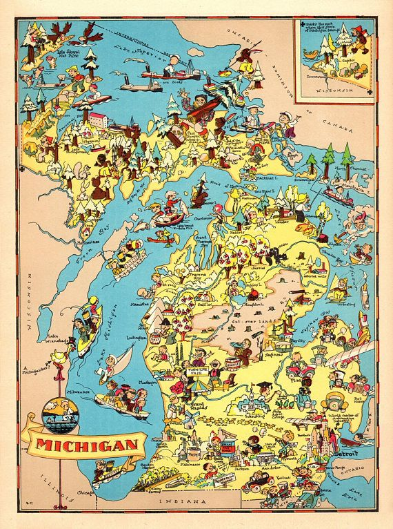 1930\'s Pictorial Michigan Map State Map of Michigan Print | Animated ...