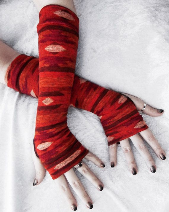Mojave Morning Arm Warmers  Rust Red Orange Brown by ZenAndCoffee