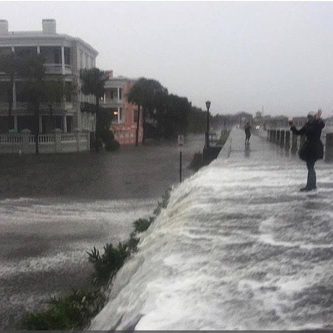 The East Battery Charleston Sc Flooded Charleston South