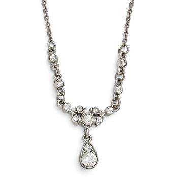Silver Tone Downton Abbey White Crystal Teardrop Necklace | Body Candy Body Jewelry