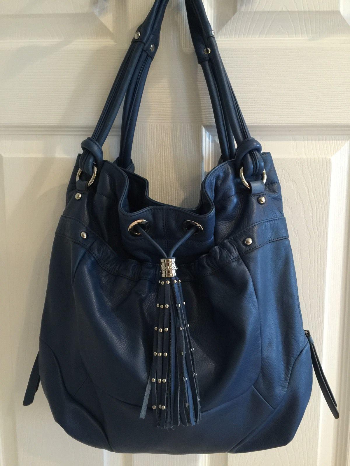 B Makowsky Blue Leather Purse Ebay