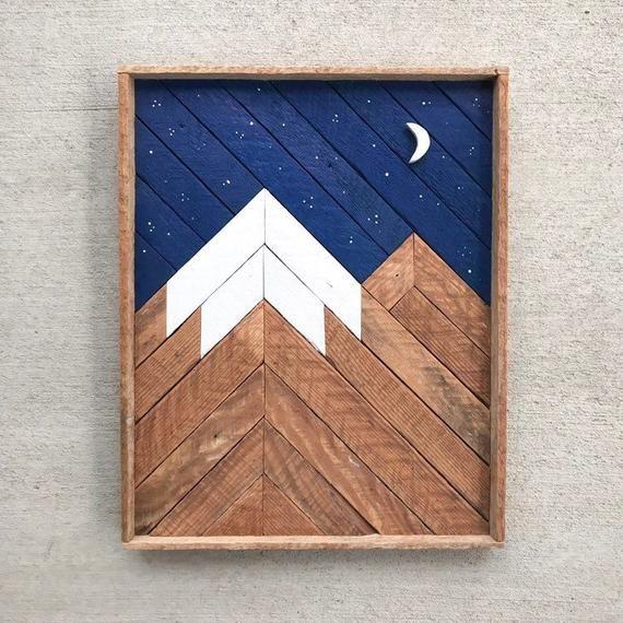 Mountain Wood Art Reclaimed Wood Wall Art Mountain Wall Art