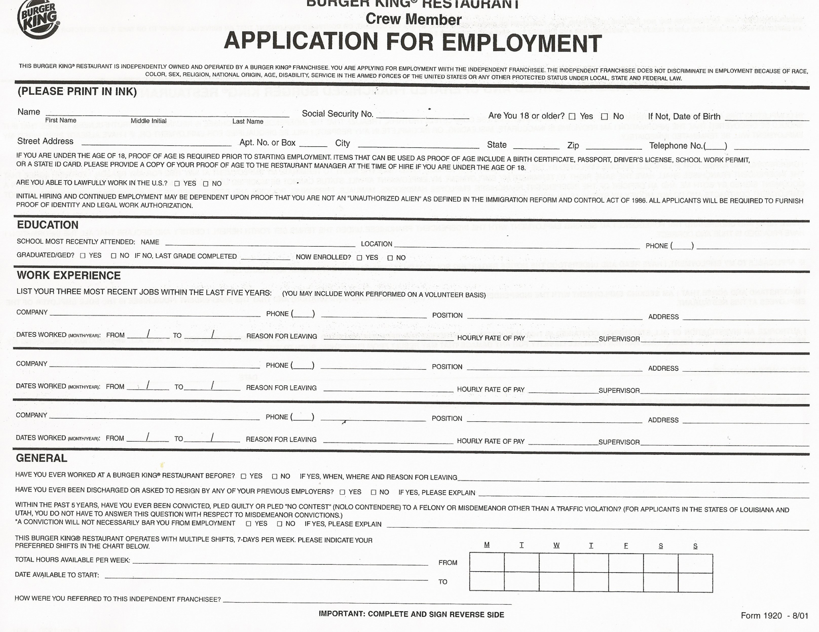 Employment Application Forms to Print | job application Printable ...
