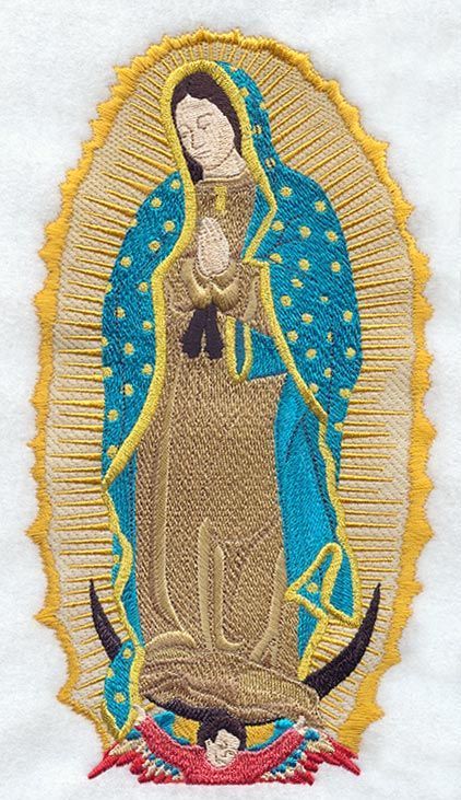 WOVEN WALL TAPESTRY La Virgen De Guadalupe Hanging With Crosses Crucifix-D
