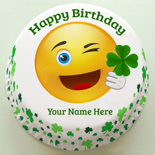 Cute And Sweet Birthday Cake With Your Name Write Name On: Happy Birthday Cute Emoji Doodle Cake With Your Name