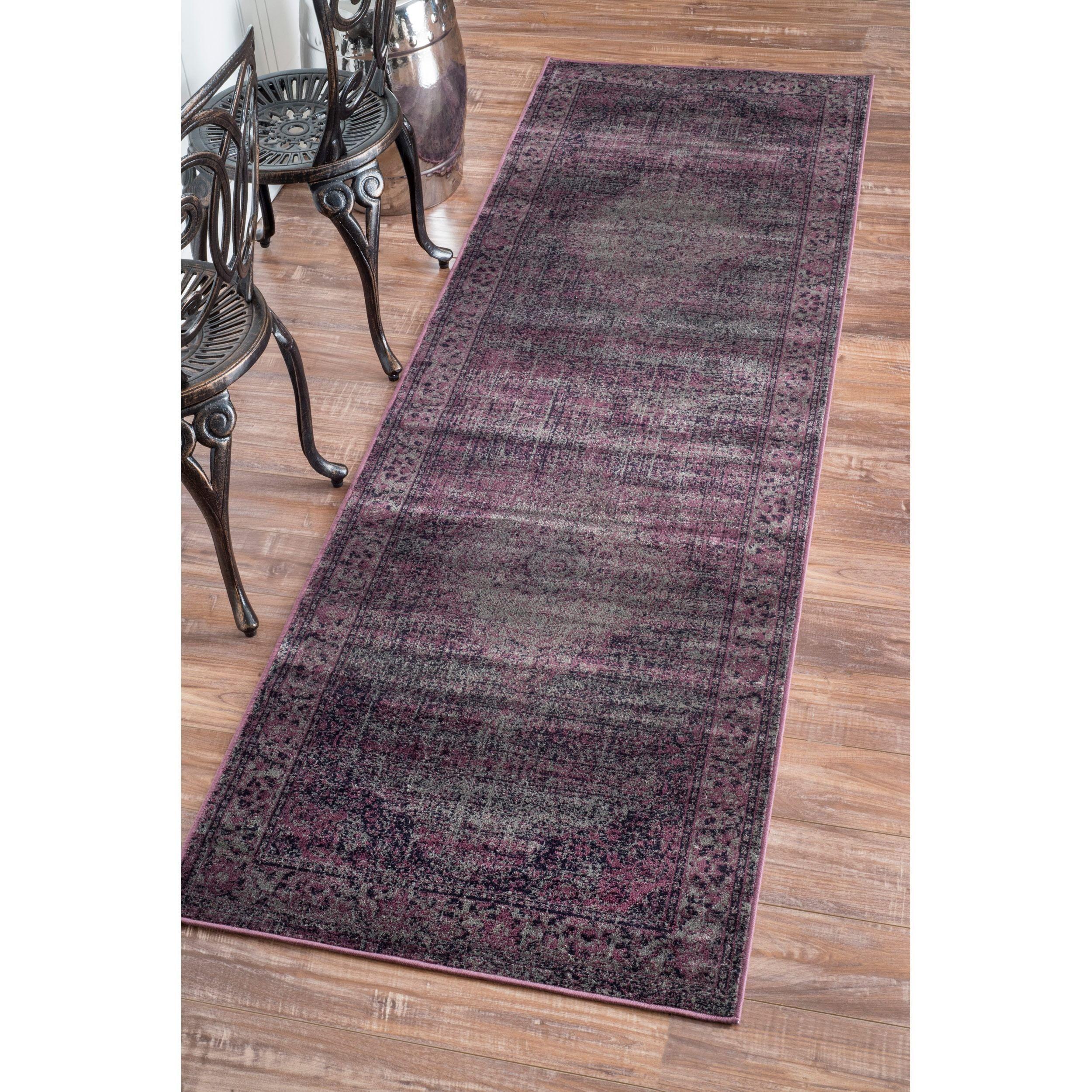 nuLOOM Oriental Vintage Viscose Persian Amethyst Runner Rug (2'7 x 8') (Amethyst), Purple