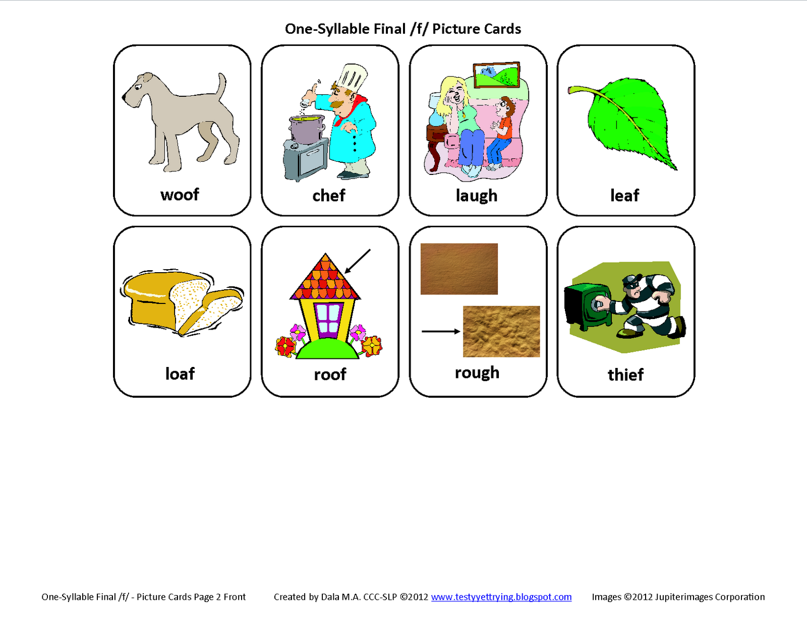 Final F Free Speech Therapy Articulation Picture Cards