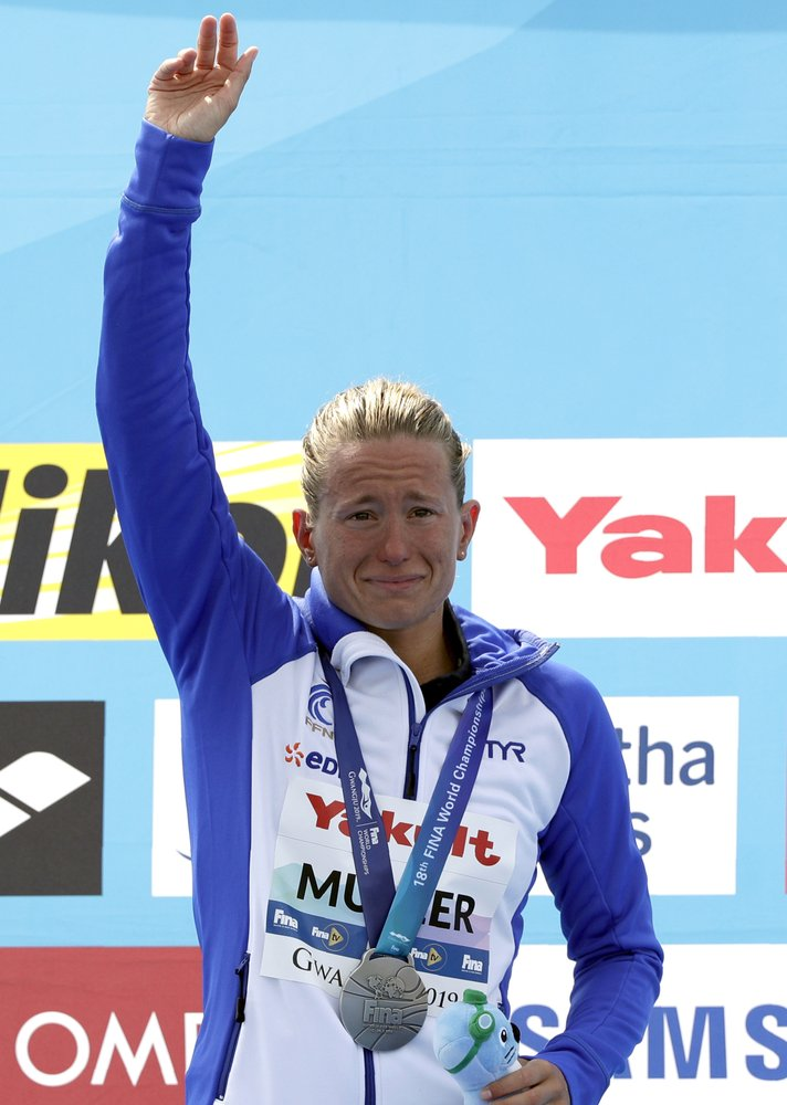 Silver Medalist Aurelie Muller Of France Reacts After The Women S 5km Open Water Swim At The World Swimming Championshi Swimming Open Water Open Water Swimming
