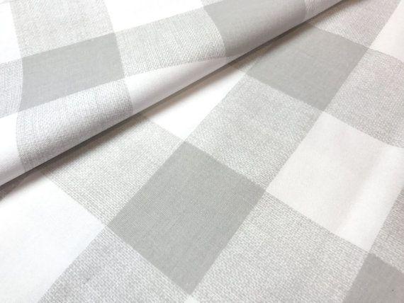 Soft Neutral Abalone Grey Plaid Checks Fabric By The Yard Designer
