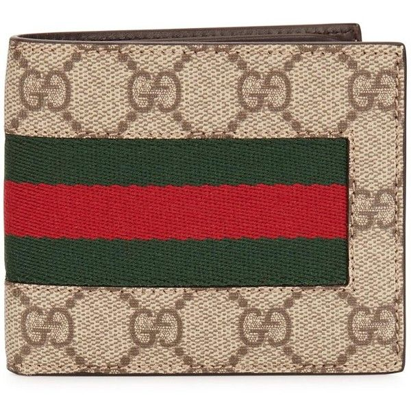 6fe0fb0d Gucci Web GG Supreme coated canvas wallet ❤ liked on Polyvore ...