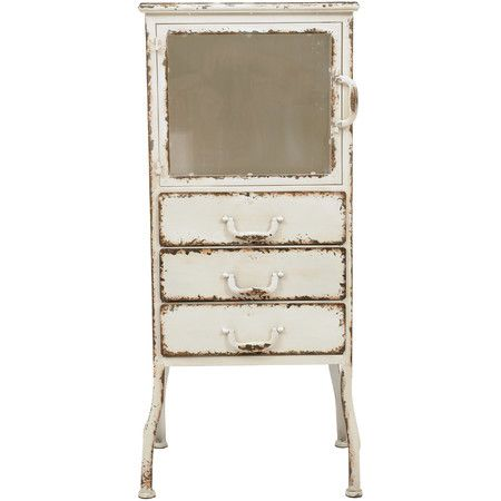 Distressed White Metal Cabinet, Creative Co Op Furniture