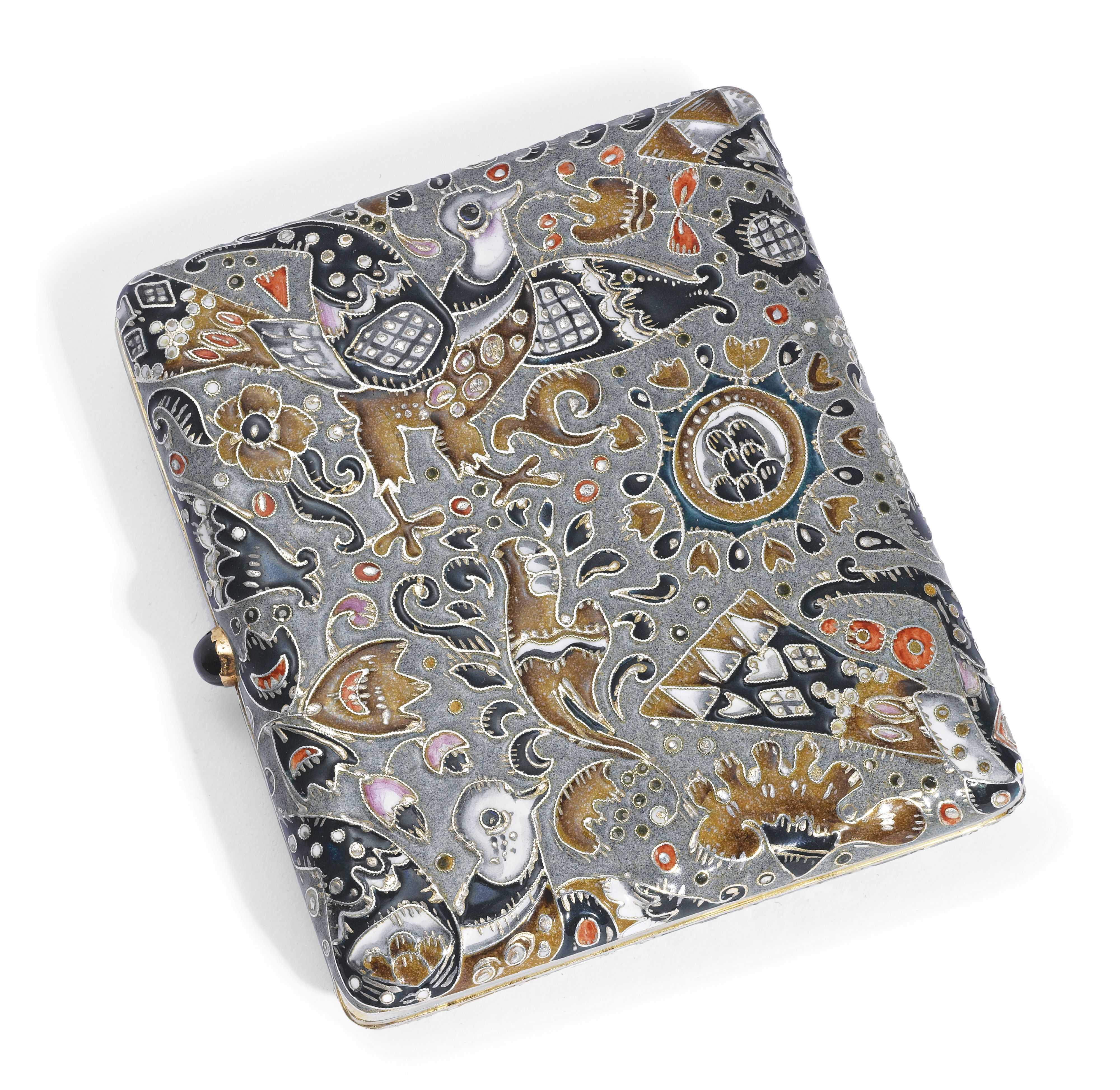 A FABERGÉ GILDED SILVER AND SHADED ENAMEL CIGARETTE CASE, MOSCOW, CIRCA 1910 of rounded rectangular form, profusely enameled with fantastical figures of birds in pearl grey, rose, coral, black, and brown against a duck's egg gray ground, the surfaces heightened with applied gilded and silver wires, the interior gild, with cabochon blue hardstone thumbpiece marked K. Fabergé with Imperial warrant overstriking maker's mark of Fedor Rückert and with 88 standard.