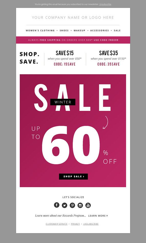 Mini Sales Email Newsletter Template PSD Ecommerce Newsletter - Ecommerce email templates free download
