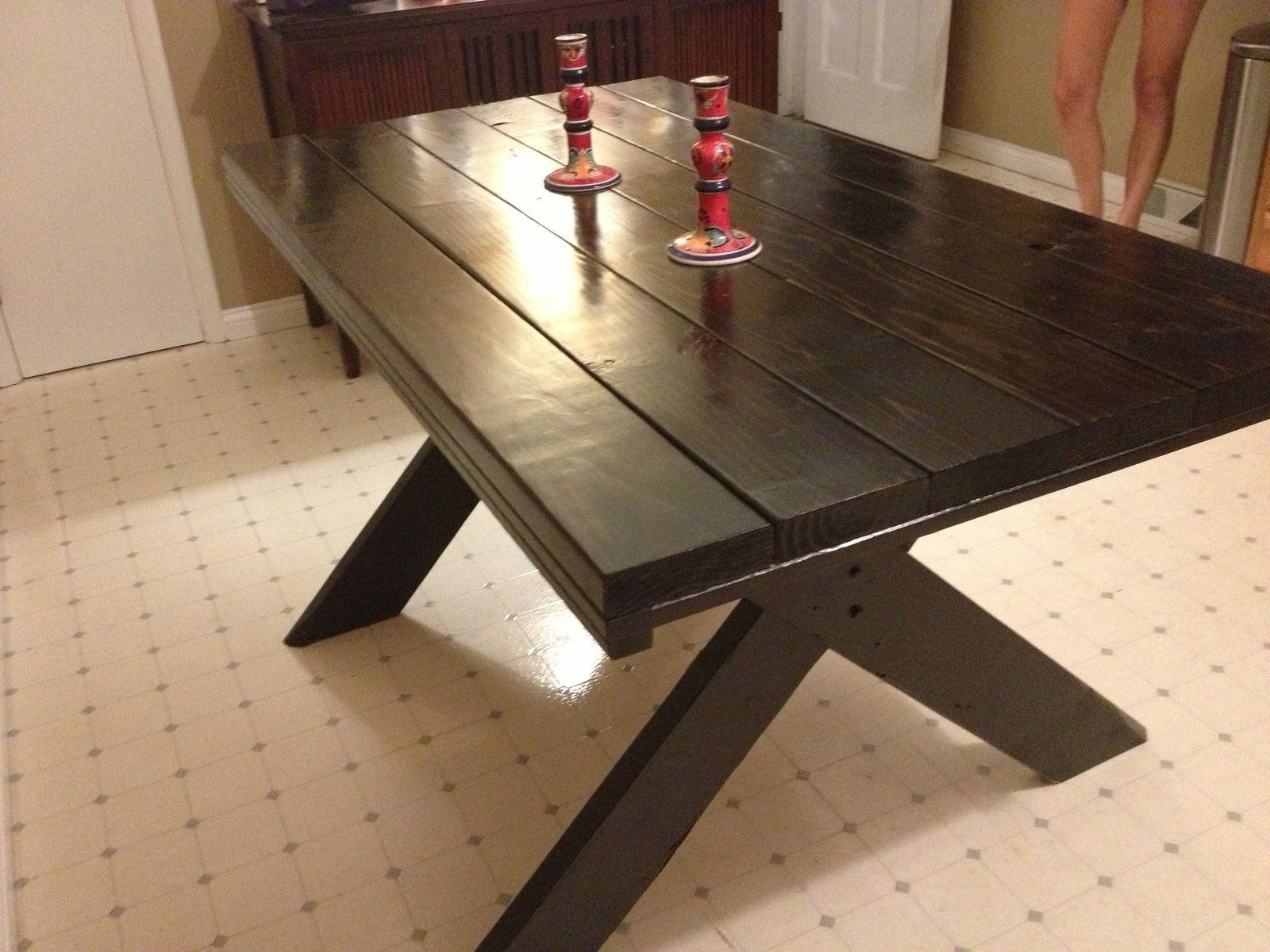 Picnic table as dining room table - Large Farm Style Dining Table With Classic X Style Legs Ideas