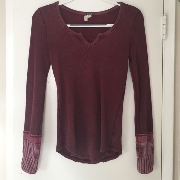 "Free People Thermal Free People thermal with cuff detail. Color is a ""washed red"". Has been worn. Great condition. No trades. Free People Tops Tees - Long Sleeve"