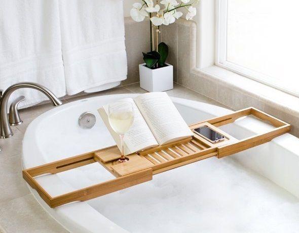 Bamboo Bathtub Caddy Extendable Sides Adjustable Book Holder Phone ...