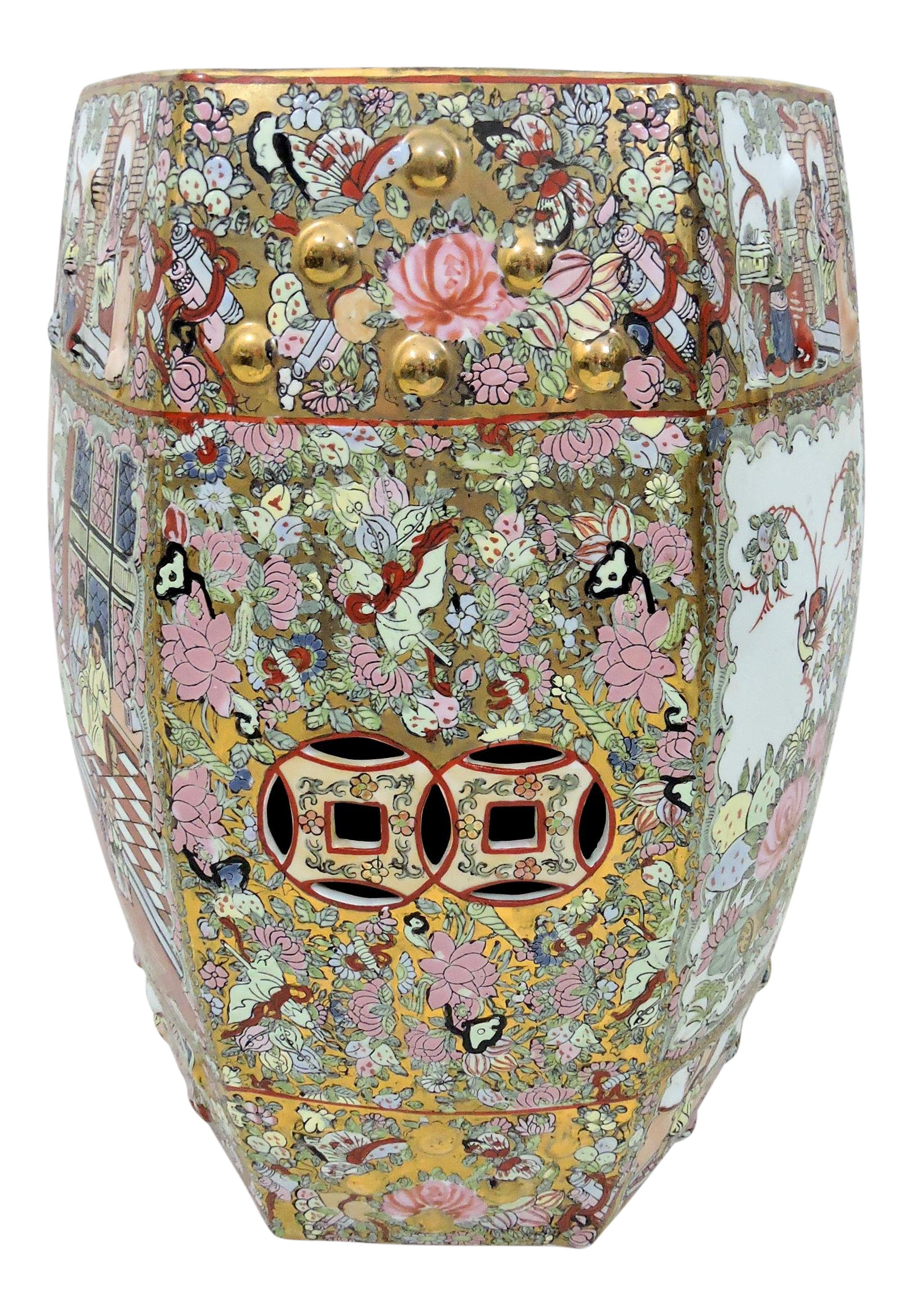 Vintage Chinese Rose Medallion Gilt Porcelain Drum Stool