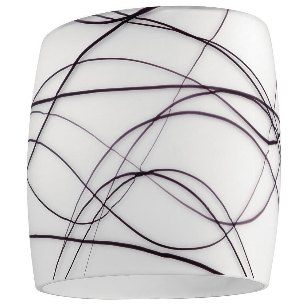 Westinghouse 6 in. White Glass with Colored Line Pattern Shade with 2-1/4 in. Fitter and 5-1/2 in. Width