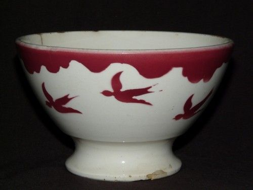 ANCIEN BOL EN FAIENCE DE BADONVILLERS DECOR HIRONDELLES ROUGES - nice bowl - 12€