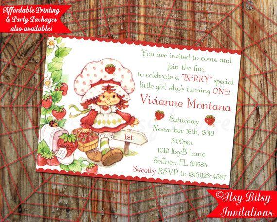 strawberry shortcake 1st birthday by itsybitsyinvitations on etsy, Wedding invitations