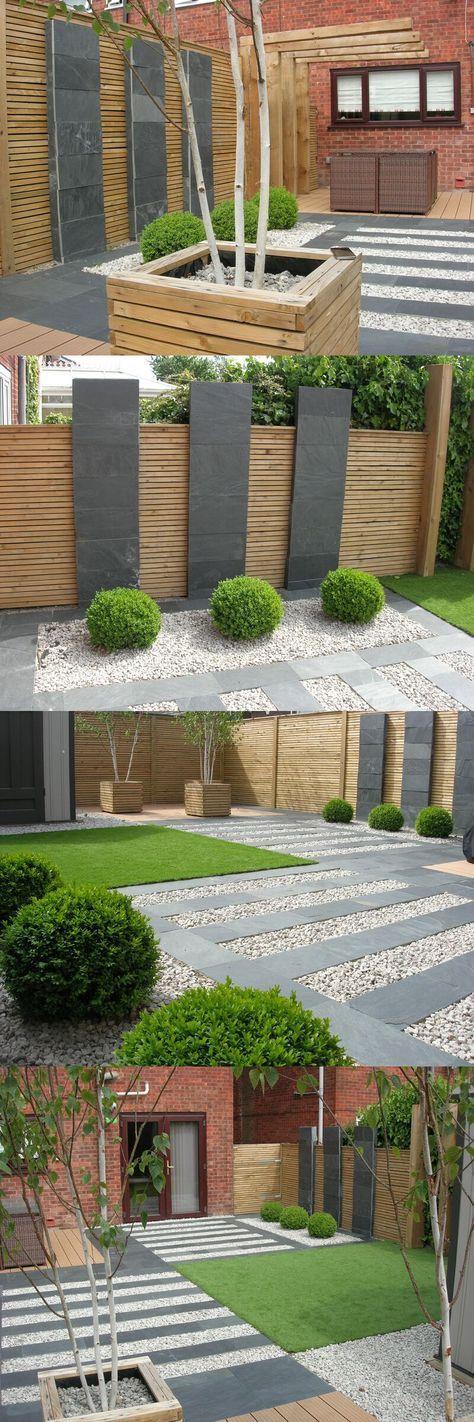 Clôture mixte bois et pierre pour un jardin contemporain #clôture ...