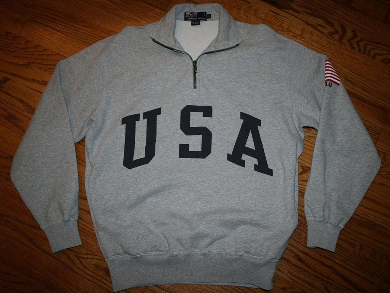 31efcbe98963 Polo Ralph Lauren USA Flag Half-Zip Pullover Sweatshirt-Small-Like  Nu-Negotiable
