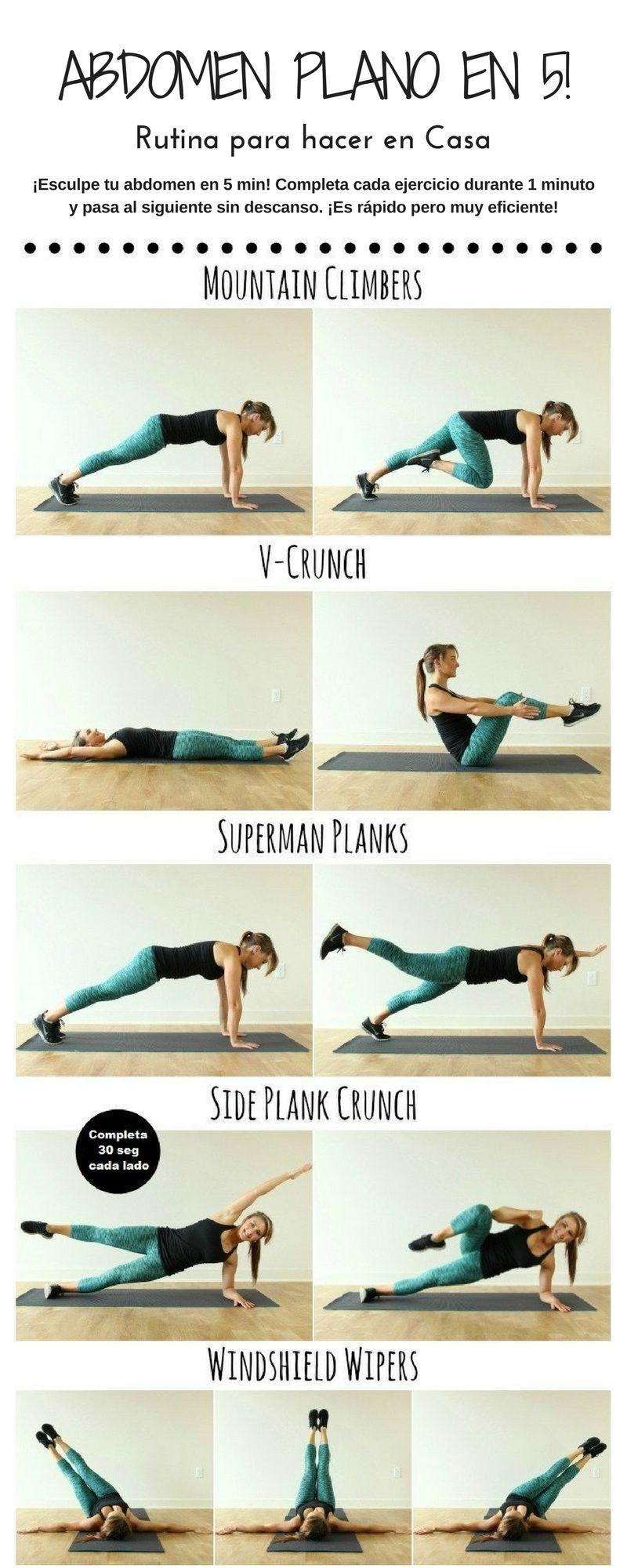 rutina de ejercicios en casa abdomen plano