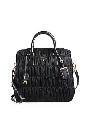 a5427a8f1013 Prada Tessuto Gaufre Large Nylon Satchel. I love that it has a zip top  closure. And the pleating and the hardware.