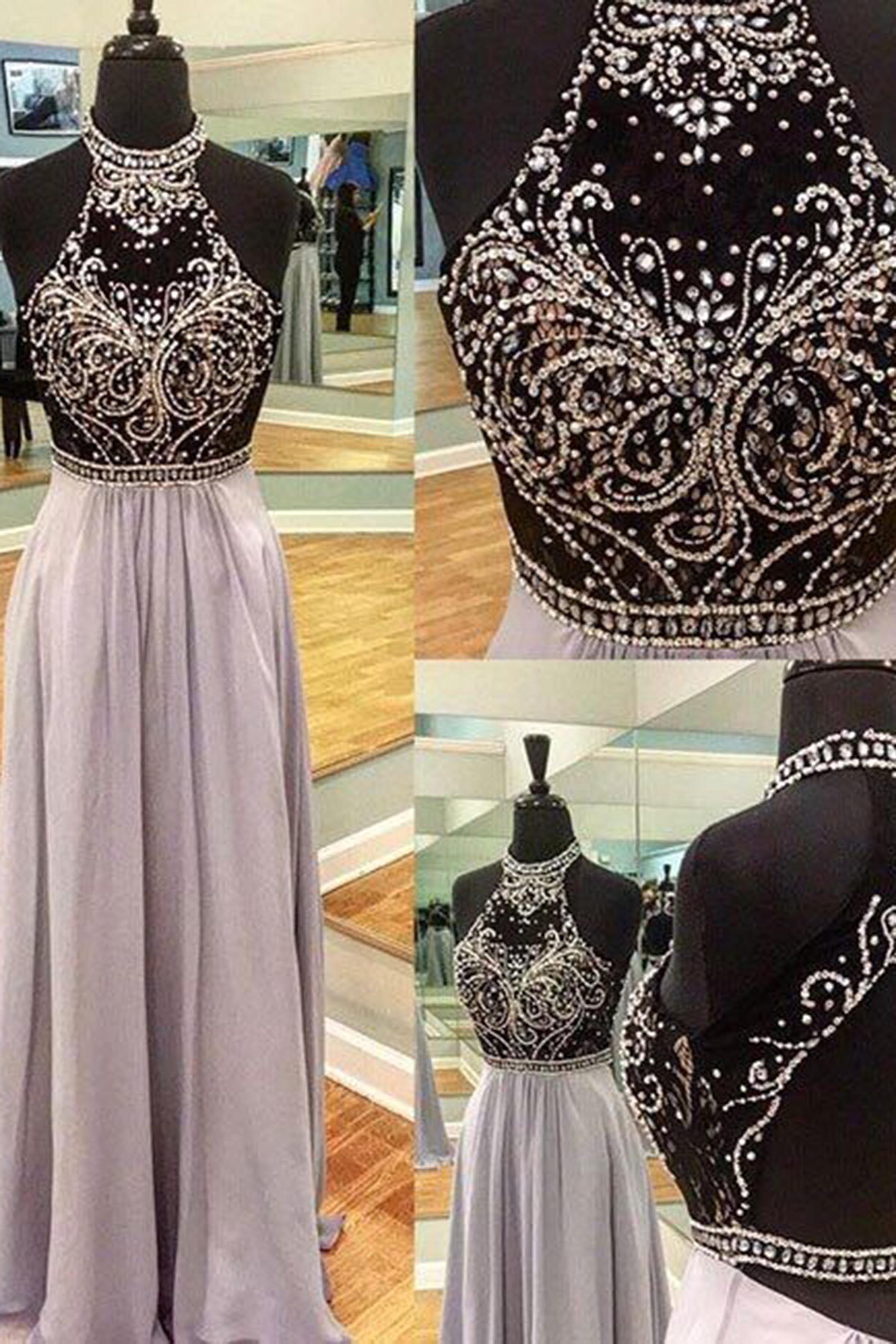 beaded prom dresses Luxury chiffon sequins beading halter backless ...