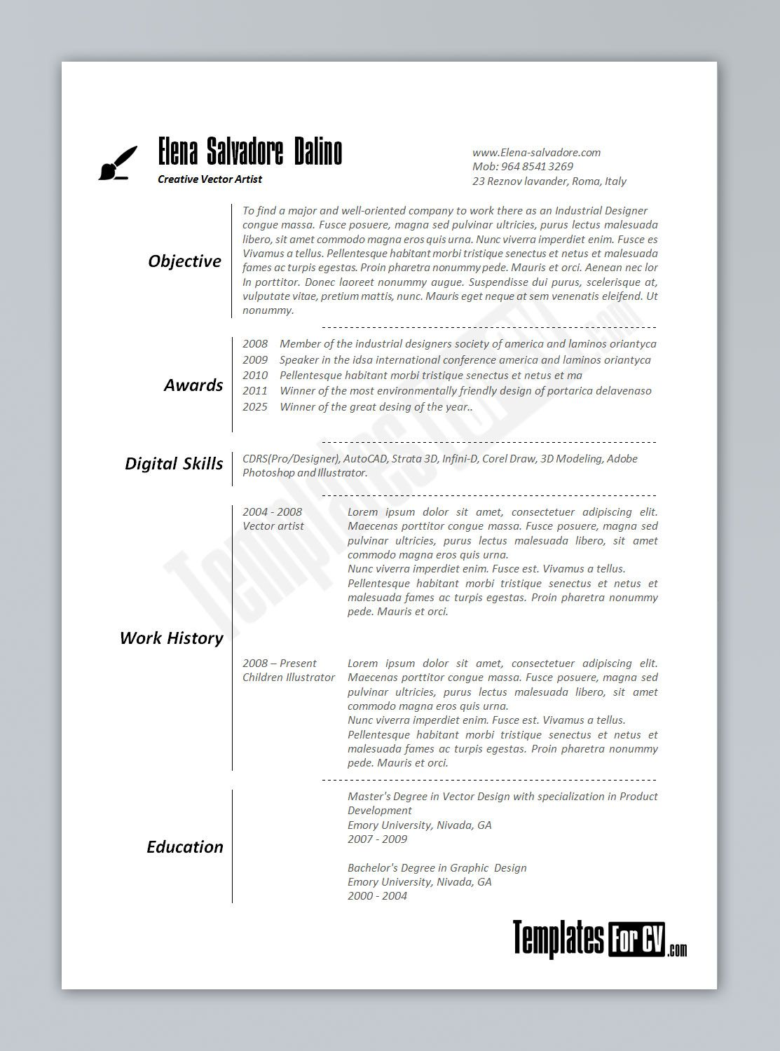 artist cv template artist cv template - Graphics Production Artist Resume