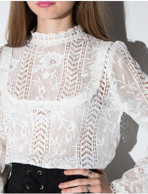 c6d2ce56eb673b White Floral Victorian Lace Blouse. Not too poofy. Could work in off white,  black or deep ox blood.