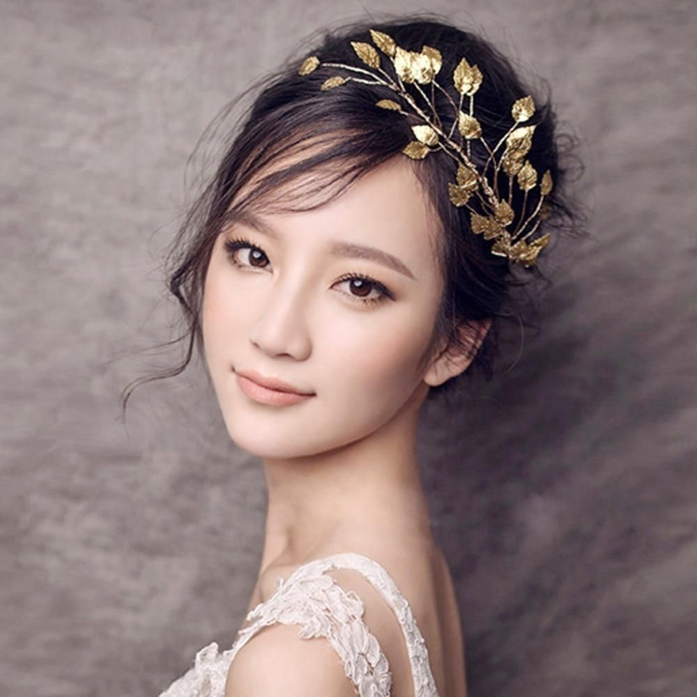 bridal wedding hair accessories gold metal leaves tiara